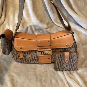 Tan and brown authentic Dior handbag.